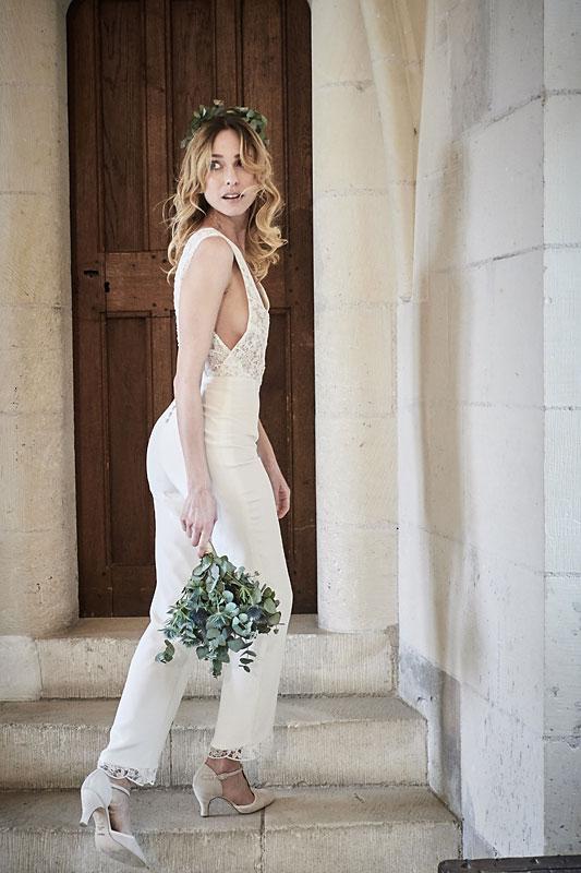 Robe de mariée made in France, Guipure de calais et crêpe de Chine 100% soie