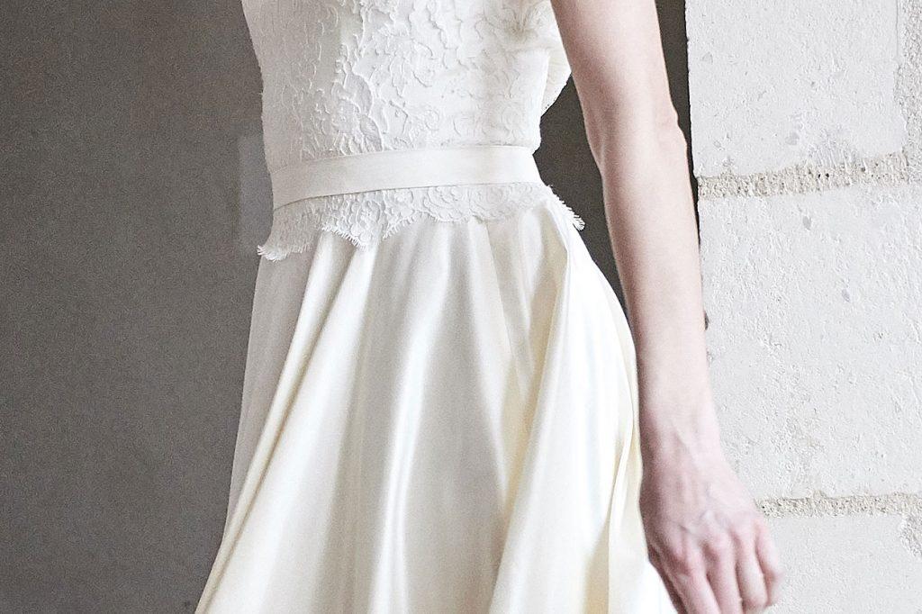 Robe de mariée made in France, Soie sauvage et dentelle de Calais 100% coton