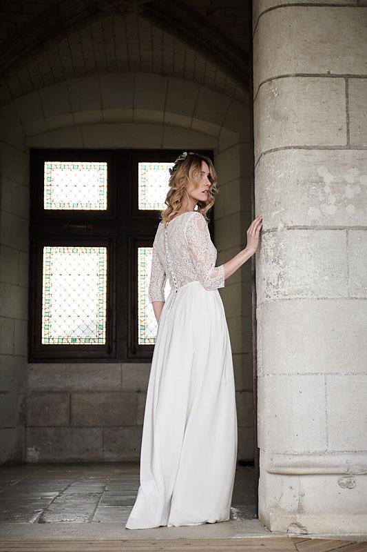 Robe de mariée made in France, Crêpe de soie et dentelle de calais 100% coton