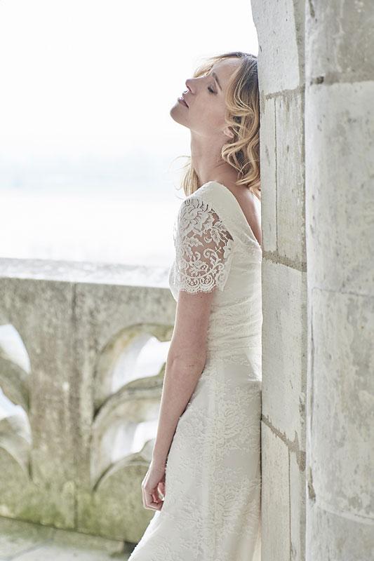 Robe de mariée made in France, Tout en dentelle de Calais 100% coton